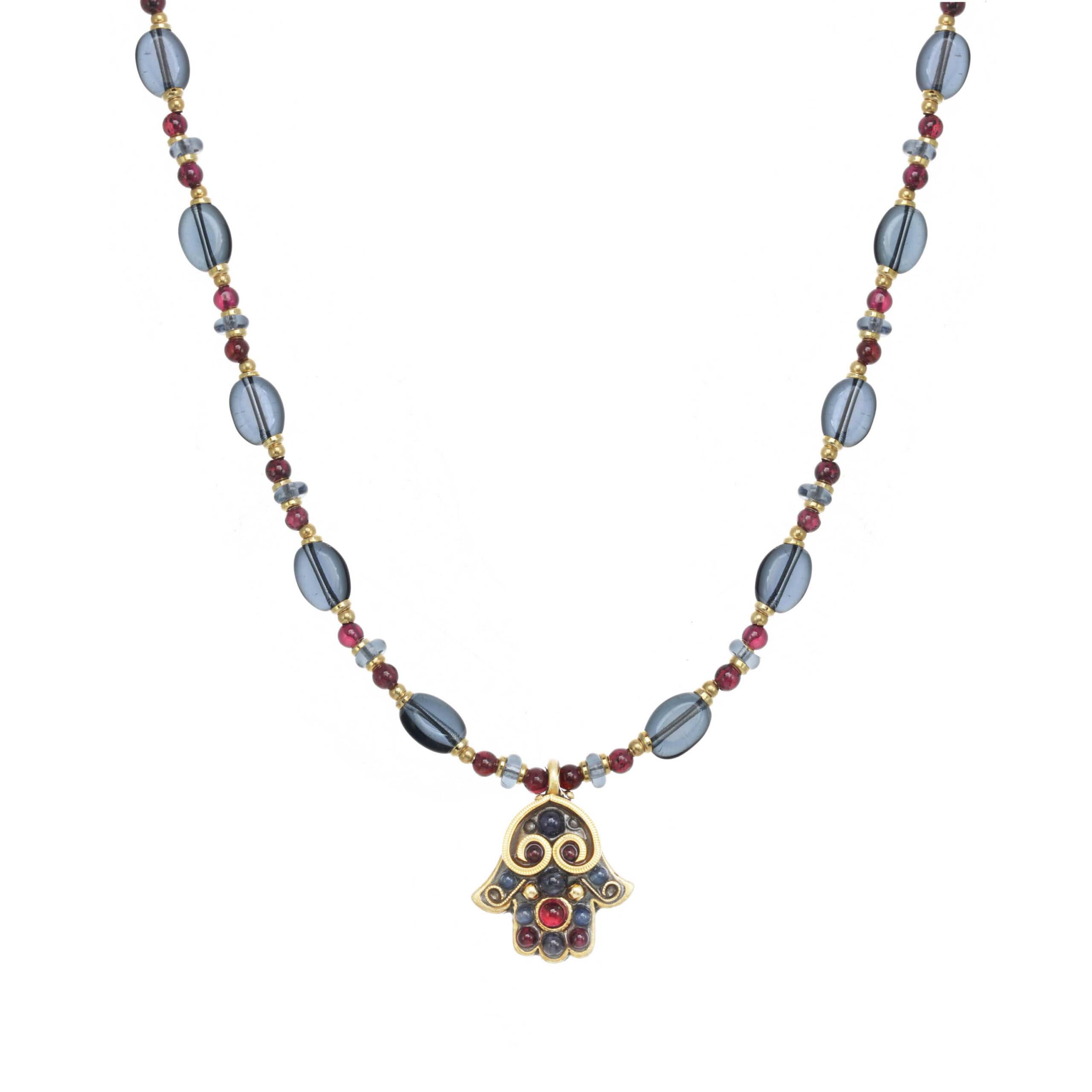 Small Iolite and Garnet Hamsa Necklace