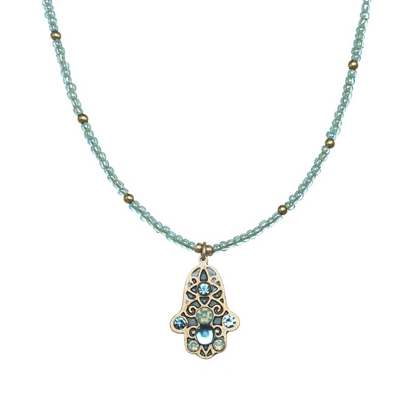 Light Blue Hamsa Necklace