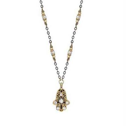 Gold & Black Hamsa Necklace