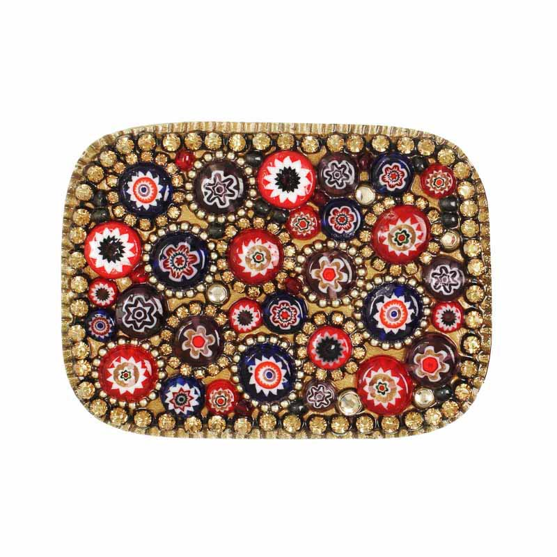 Millefiori rectangular belt buckle, handmade at Michal Golan studios USA