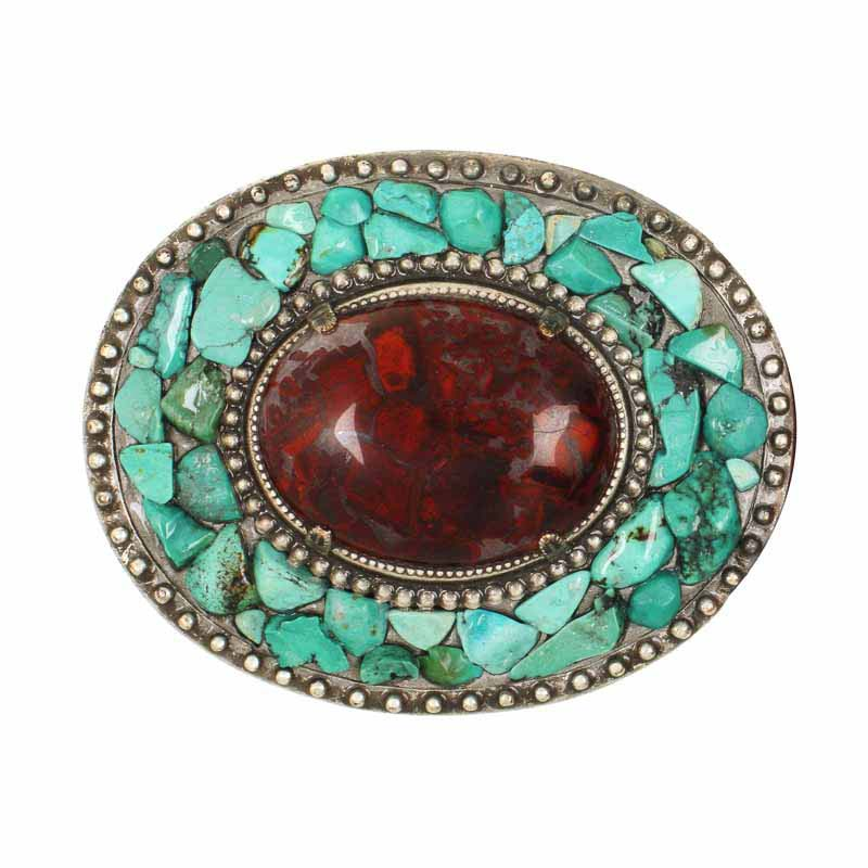 Brecciated jasper oval belt buckle, handmade at Michal Golan studios USA