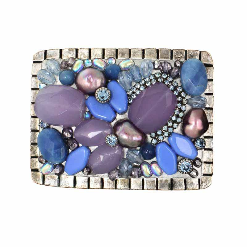 Purple hues rectangular belt buckle, handmade at Michal Golan studios USA