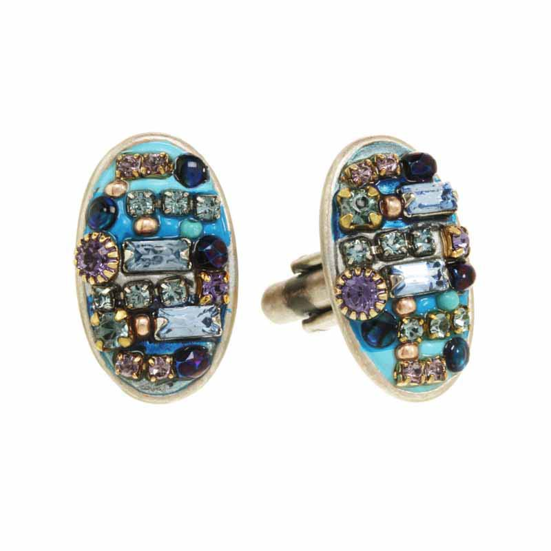 Blue multibright oval cufflinks, handmade at Michal Golan studios USA