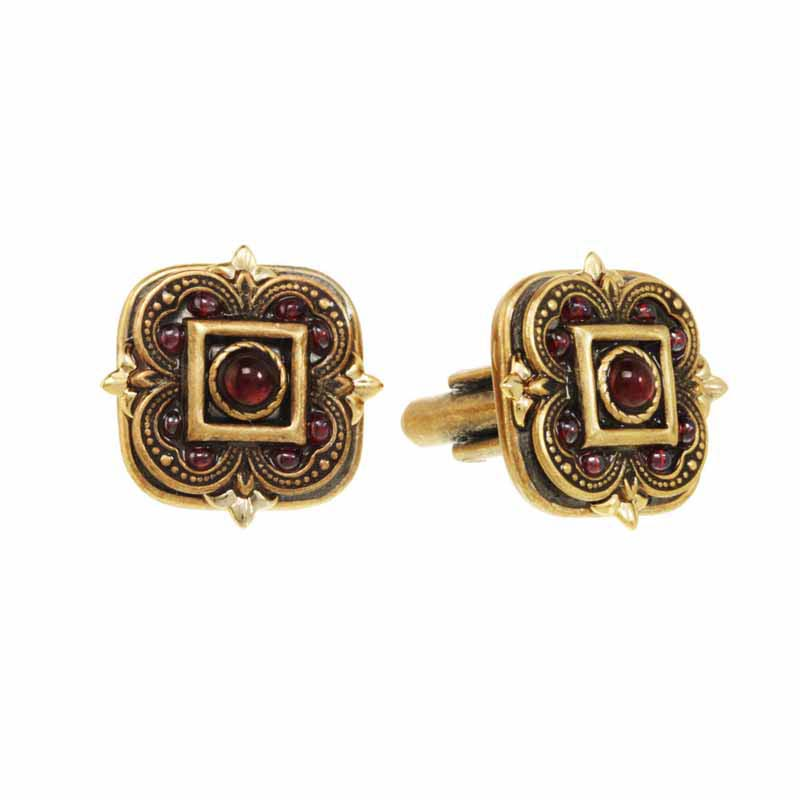 Garnet square flower cufflinks, handmade at Michal Golan studios USA