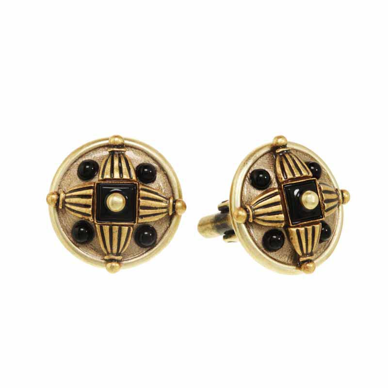 Black onyx round cufflinks, handmade at Michal Golan studios USA