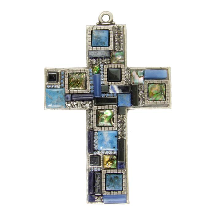 Blue Mosaic Wall Cross