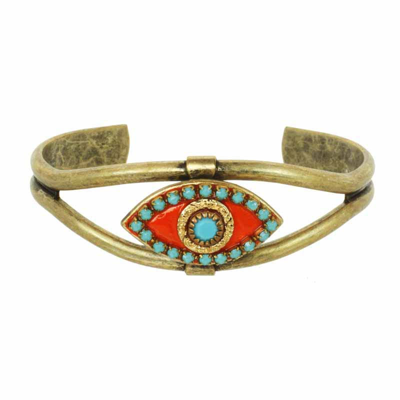 Coral and Turquoise Evil Eye Cuff Bracelet