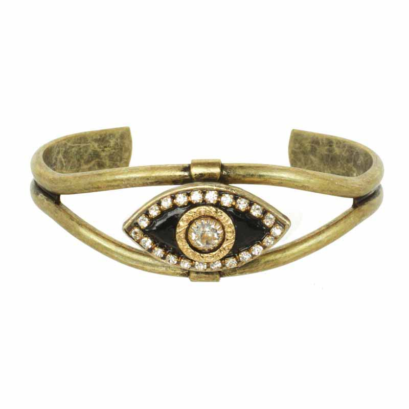 Black & Gold Evil Eye Cuff Bracelet