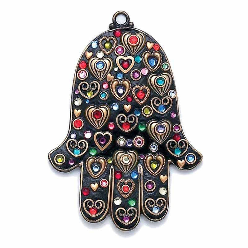 Black Heart Wall Hamsa