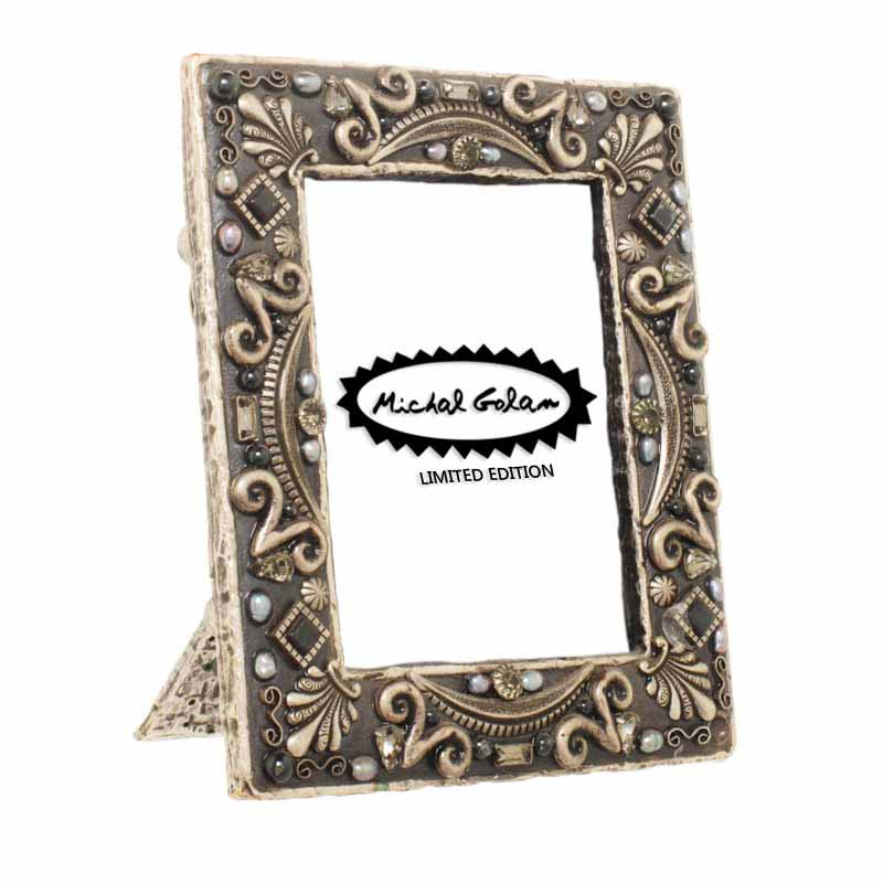 Hematite picture frame, handmade at Michal Golan studios USA