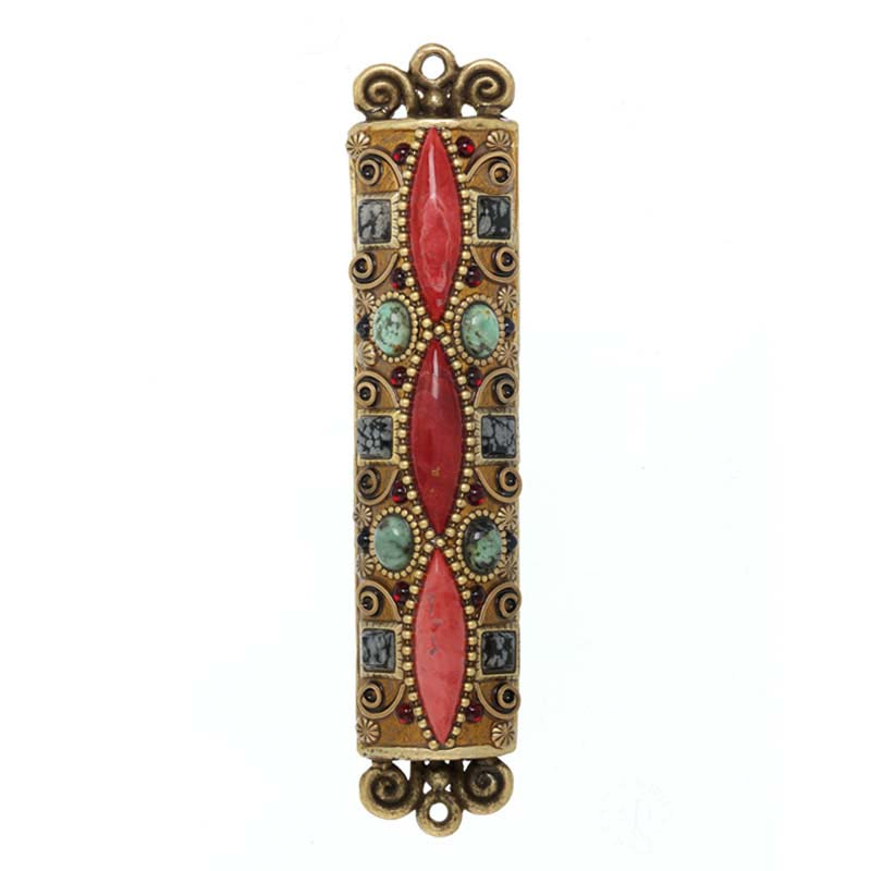 Red and Bronze Gemstone Mezuzah