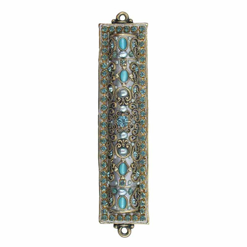 Mezuzah with Blue Crystals