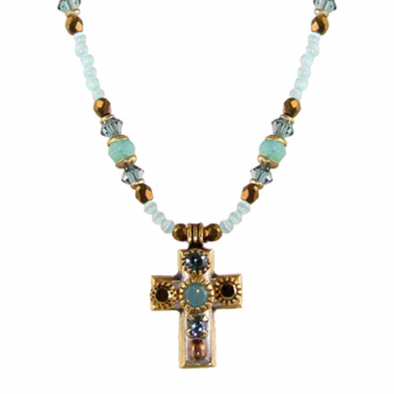 Small Light Blue Cross Necklace on Beaded Chain