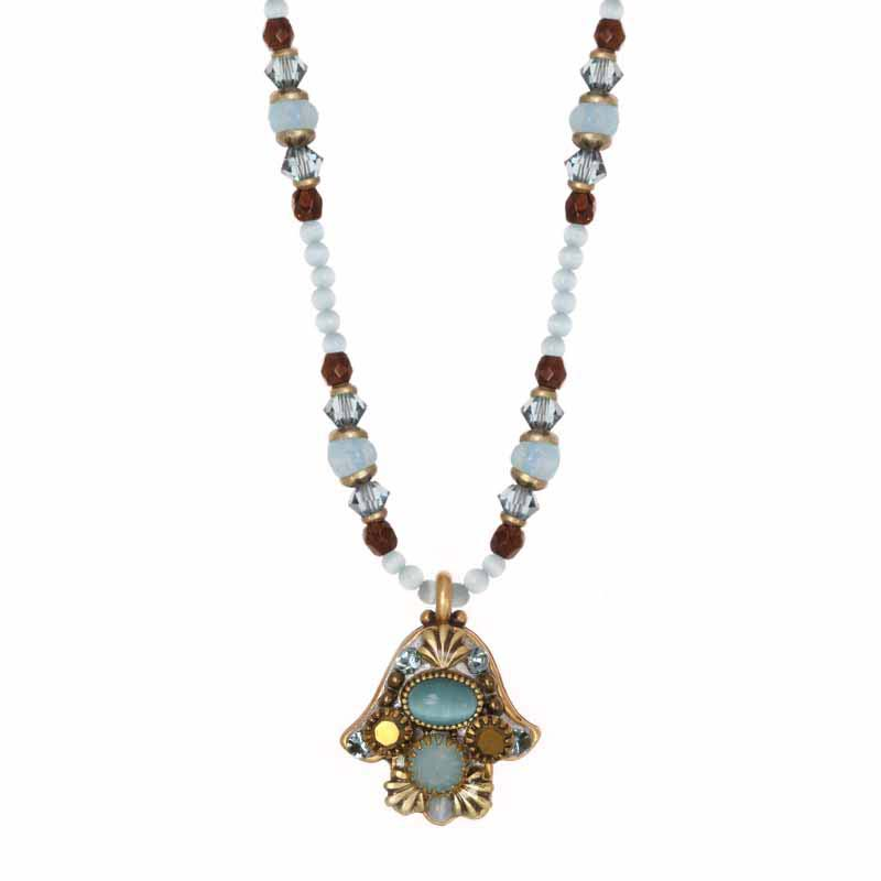 Small cats eye hamsa necklace