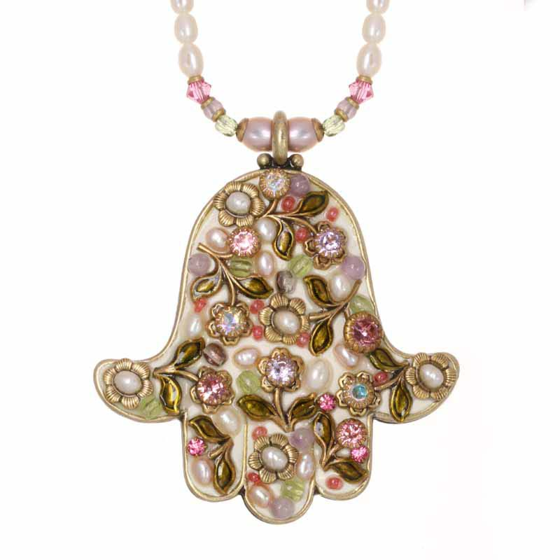 Pearl Blossom Large Hamsa Necklace