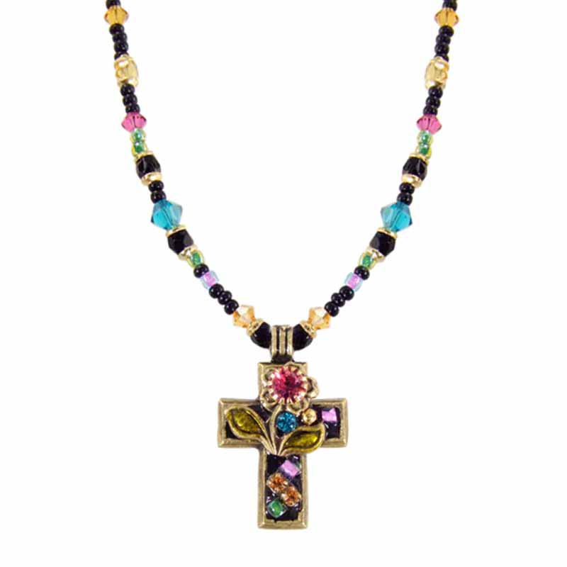 Black Flower Cross Necklace