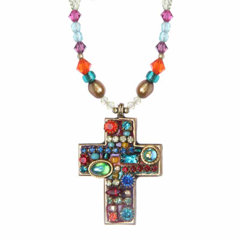 Multi Bright Beaded Cross Necklace