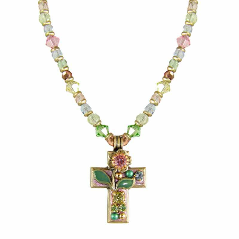 Pastel Pink Garden Cross Necklace
