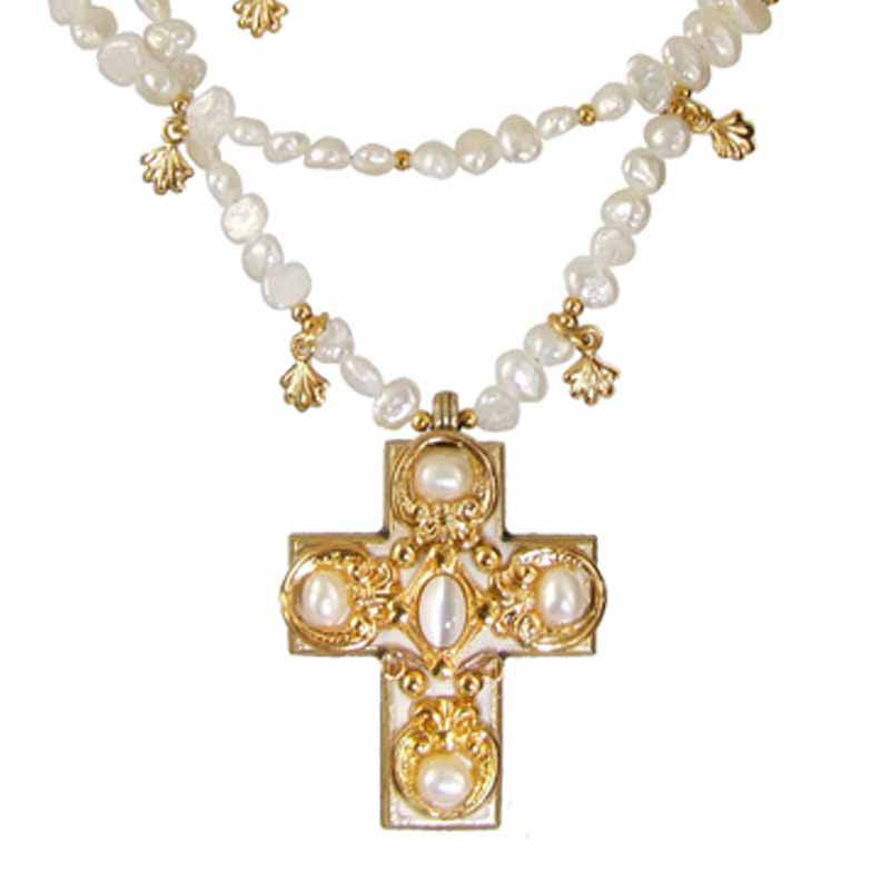 Medium gold and pearl cross on beaded three chain necklace