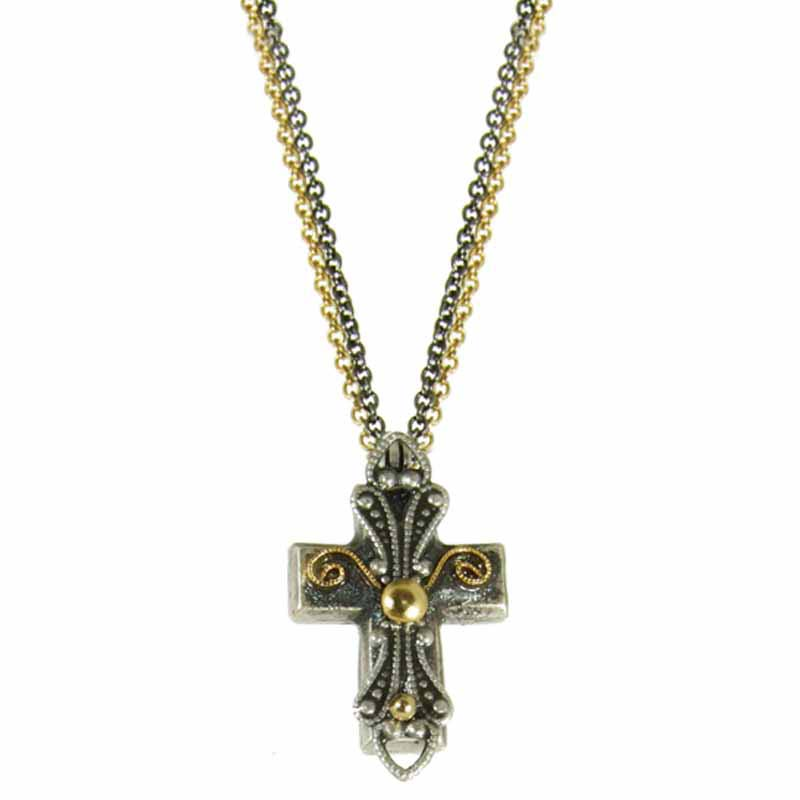 Small Black and Gold Cross Necklace