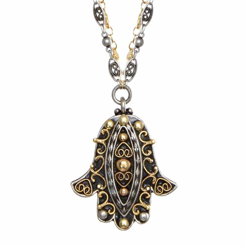 Black and Bronze Hamsa Necklace