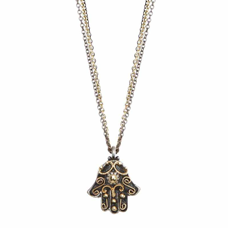 Black and Gold Small Hamsa Necklace