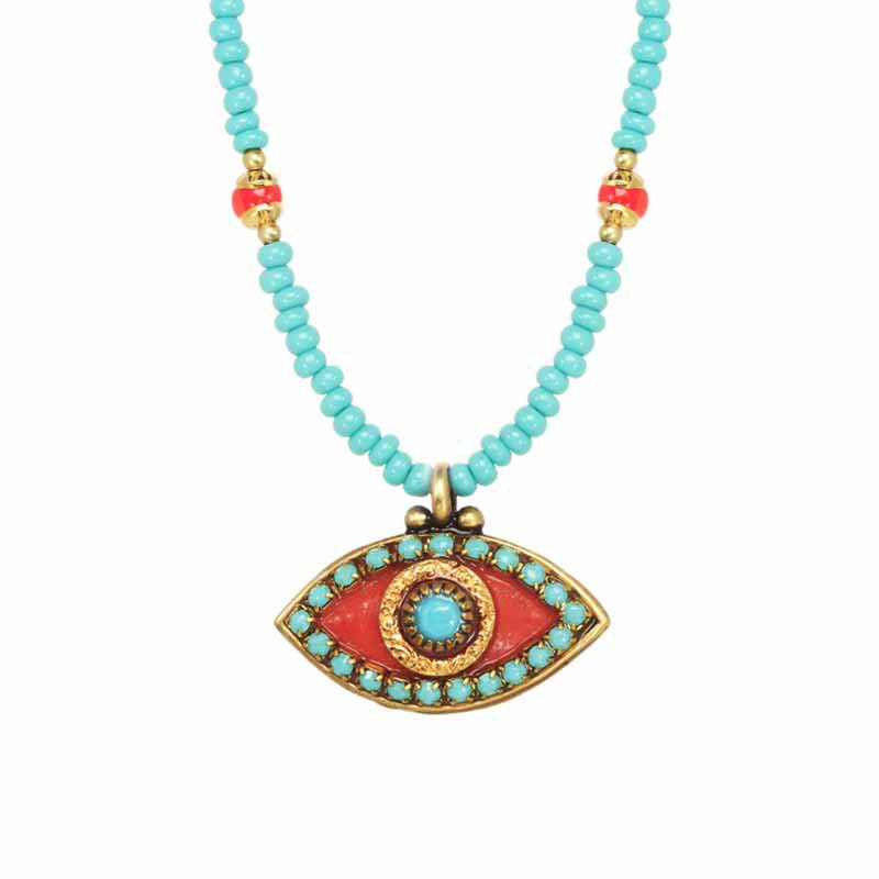 Coral and Turquoise Evil Eye Necklace