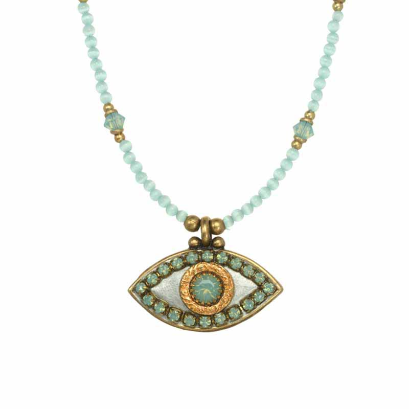 Misty Green Evil Eye Necklace with Cat's Eye Stones