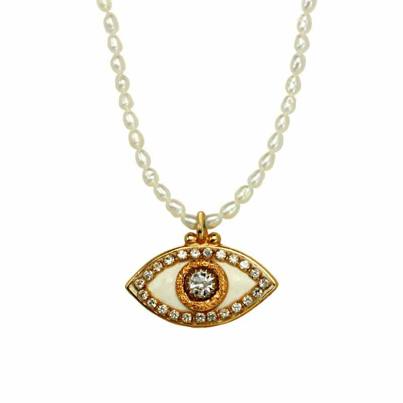Freshwater Pearl Evil Eye Necklace