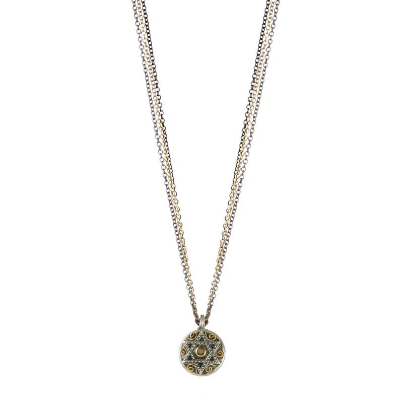 Silver star of david pendant on triple chain necklace, handmade at Michal Golan studios USA