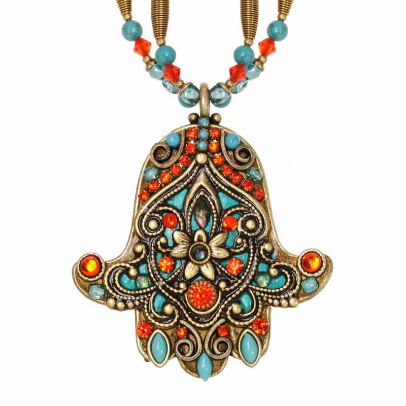 Turquoise and Coral Hamsa Necklace