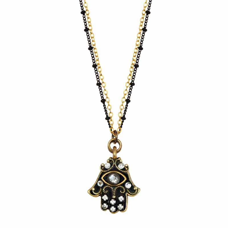 Black Hamsa Necklace
