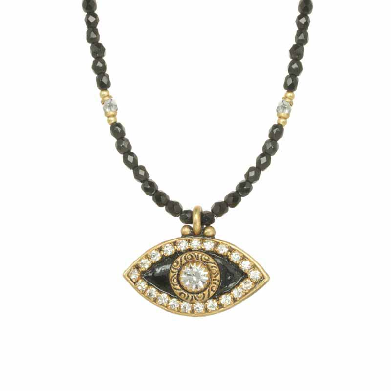 Black and Crystal Evil Eye Necklace