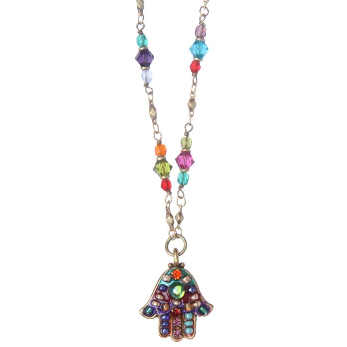 Multi-Bright Hamsa Necklace