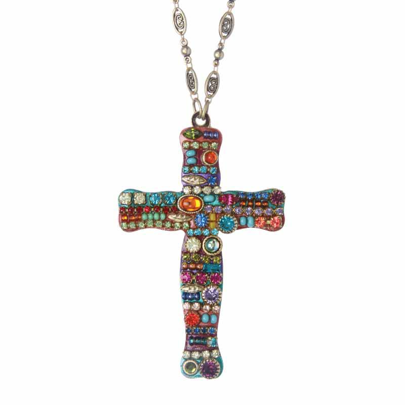 Multi Bright Mosaic Cross Necklace
