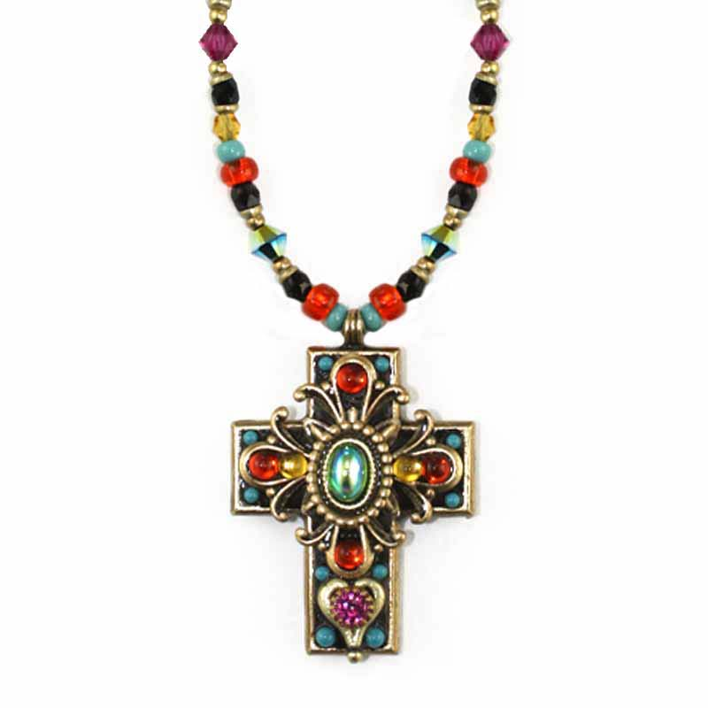 Kaleidoscope Beaded Cross Necklace