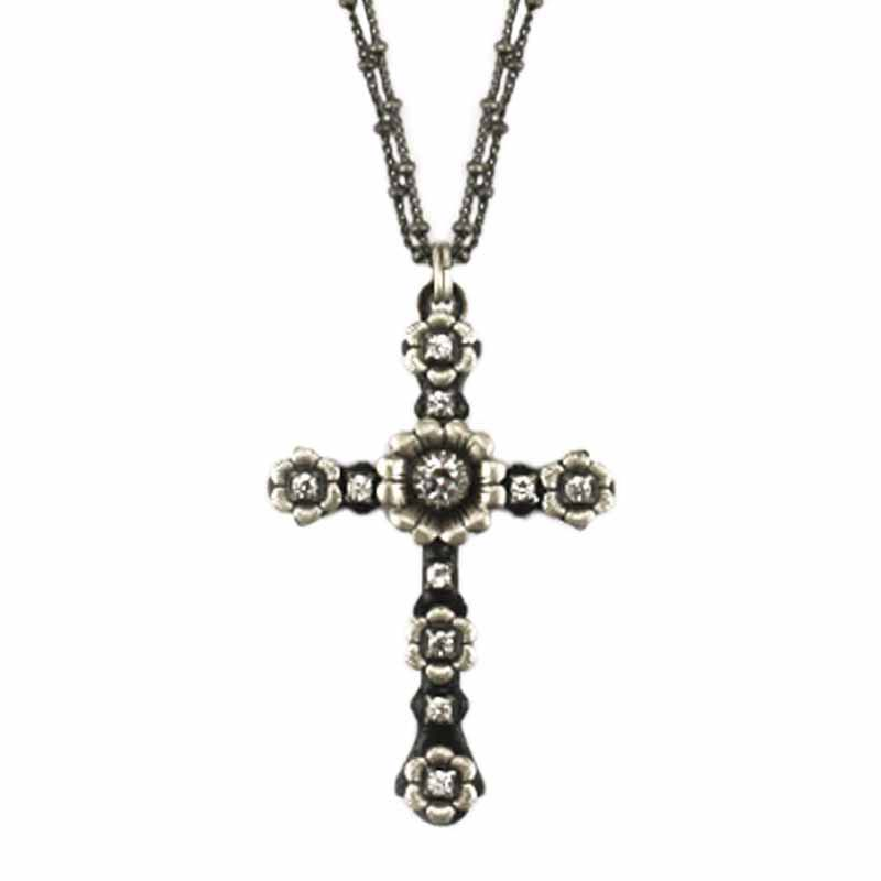 Large black floral cross necklace