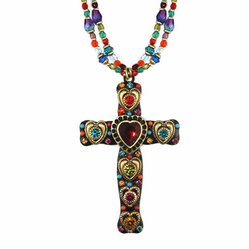 Multi Heart Cross Necklace