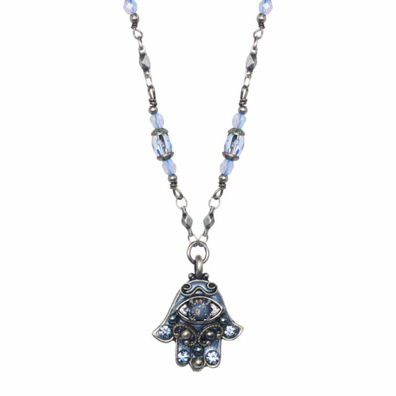 Sky Blue Hamsa Necklace on Partially Beaded Chain