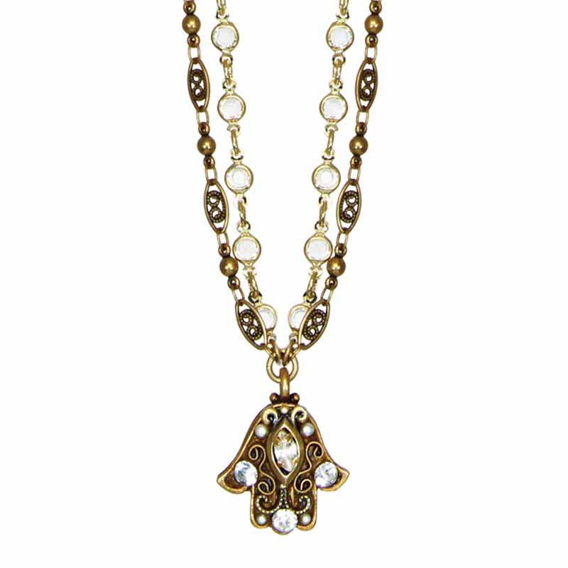 Crystal Chain Hamsa Necklace