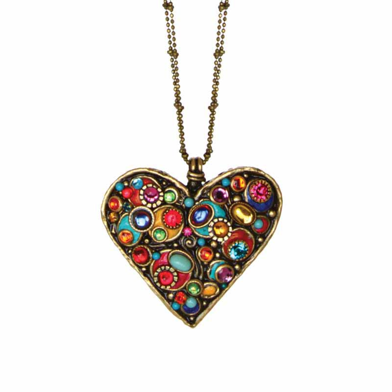 Confetti heart pendant necklace on ball chain, handmade at Michal Golan studios USA