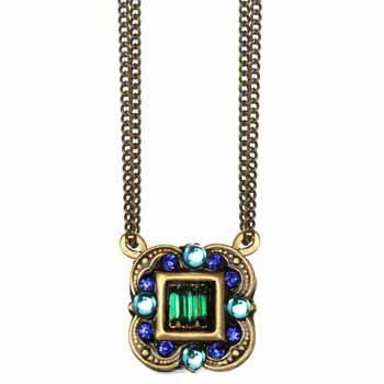 Peacock small rounded square pendant on double chain necklace w/ glass beads & swarovski crystals, handmade at Michal Golan studios, USA