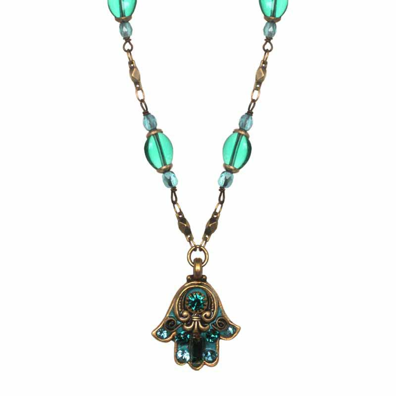 Green Hamsa Necklace on partially beaded chain