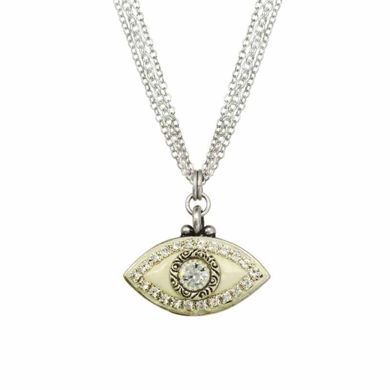 Cream and Silver Evil Eye Necklace