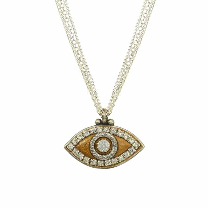 Gold on Silver Chain Evil Eye Necklace