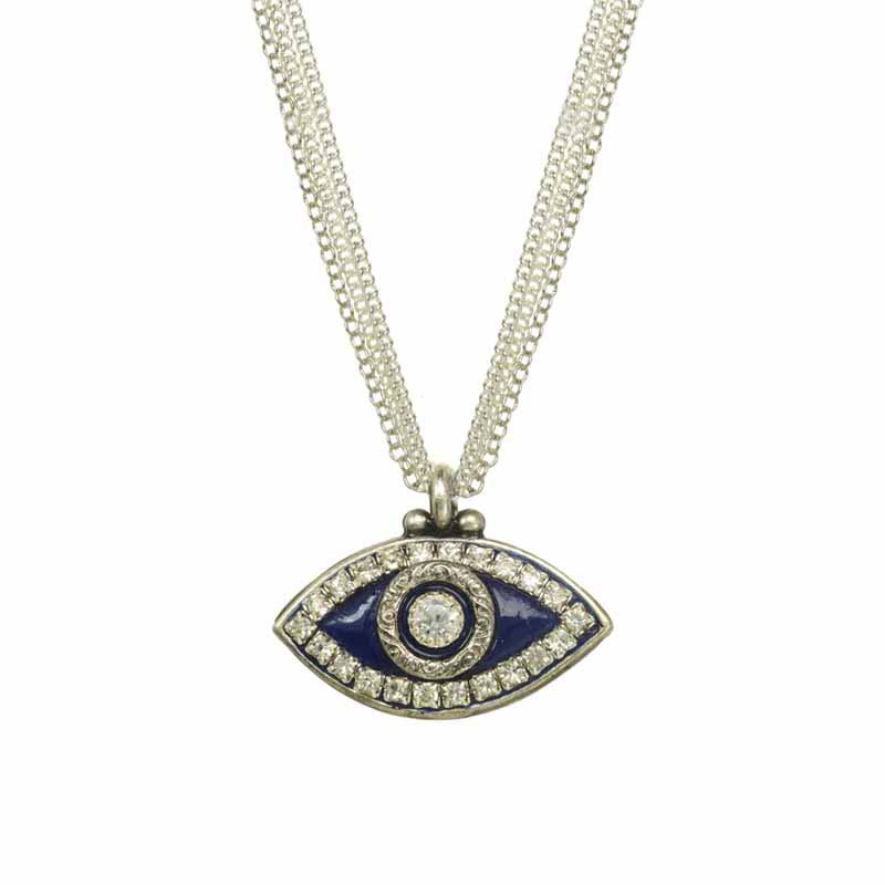 Navy Blue Evil Eye Necklace