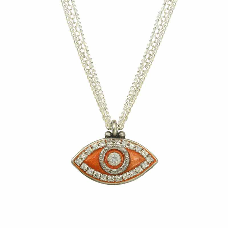 Tangerine Evil Eye Necklace
