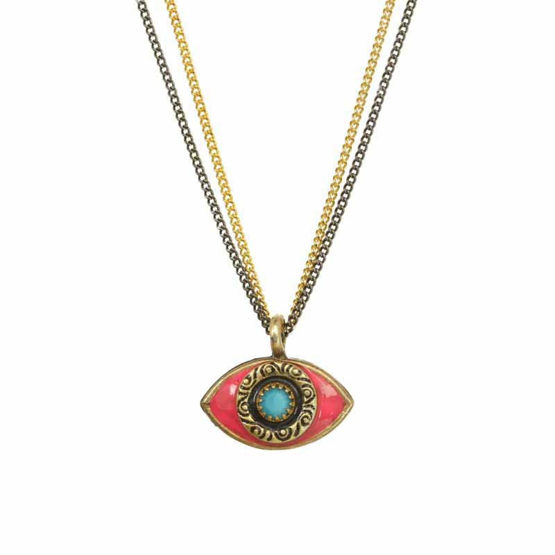 Mini Hot Pink Evil Eye Necklace