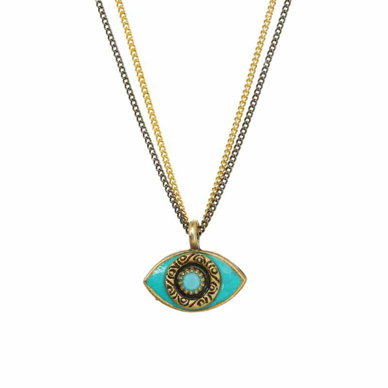 Mini Teal Evil Eye Necklace
