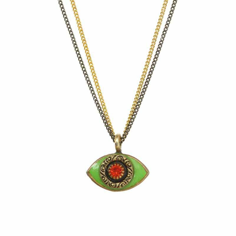 Mini Neon Green Evil Eye Necklace